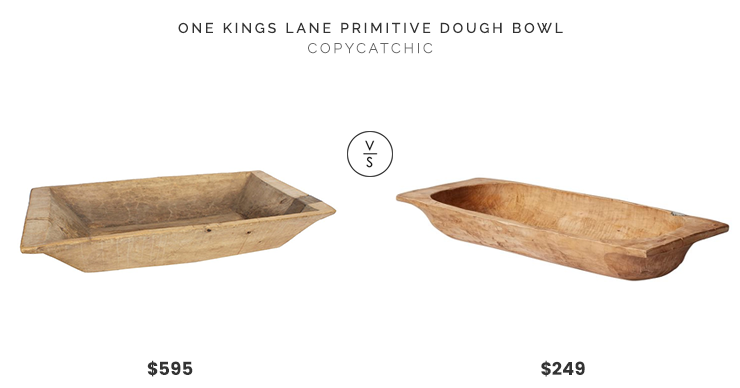 One Kings Lane Large Primitive Dough Bowl $595 vs. Pottery Barn Found Dough Bowls, Large $249, dough bowl look for less, copycatchic luxe living for less, budget home decor and design, daily finds, home trends, sales, budget travel and room redos