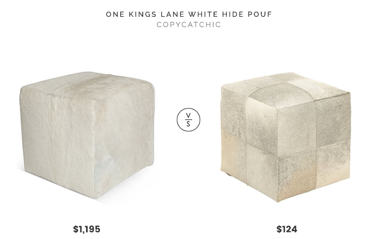 One Kings Lane White Hide Pouf $1,195 vs. DecMode Cube Leather Hide $124, cowhide ottoman look for less, copycatchic luxe living for less, budget home decor and design, daily finds, home trends, sales, budget travel and room redos