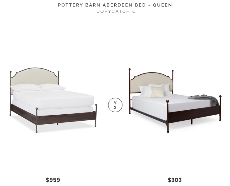 Pottery Barn Aberdeen Bed $959 vs. Overstock Andover Bed $303, upholstered metal bed look for less, copycatchic luxe living for less, budget home decor and design, daily finds, home trends, sales, budget travel and room redos