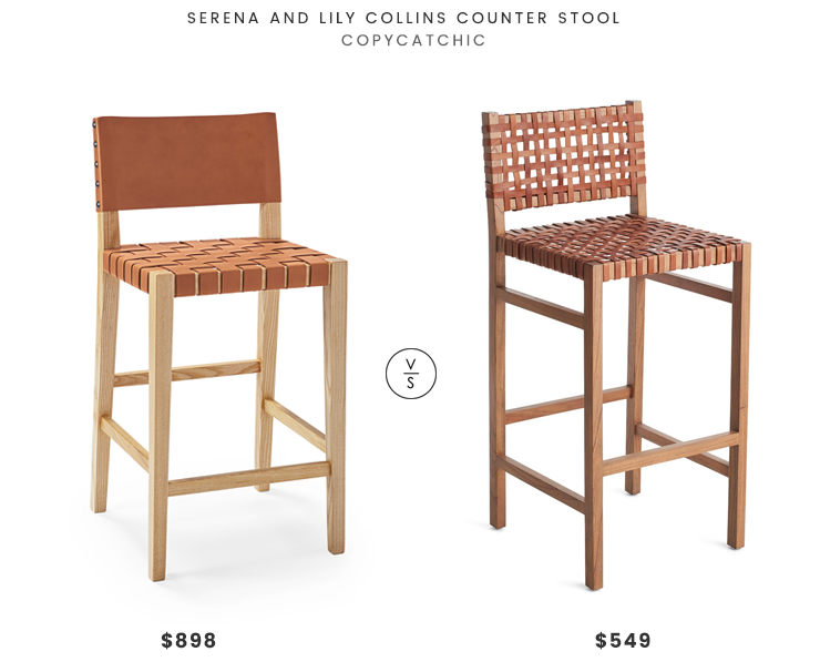 Serena and Lily Collins Counter Stool $849 vs. Wisteria Natura Stool $549, woven leather counter stool look for less, copycatchic luxe living for less, budget home decor and design, daily finds, home trends, sales, budget travel and room redos