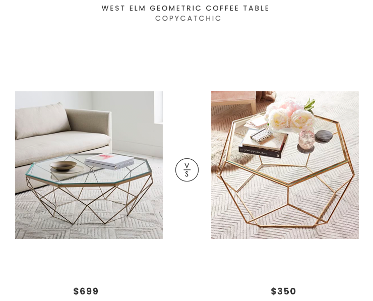 West Elm Geometric Coffee Table $699 vs. Pier 1 Geometric Coffee Table $350, gold geometric coffee table look for less, copycatchic luxe living for less, budget home decor and design, daily finds, home trends, sales, budget travel and room redos