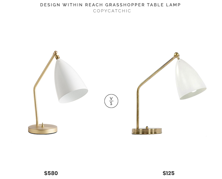 France & Son Grasshopper Table Lamp $125 vs. Design Within Reach Grasshopper Table Lamp $580, white grasshopper table lamp look for less, copycatchic luxe living for less, budget home decor and design, daily finds, home trends, sales, budget travel and room redos