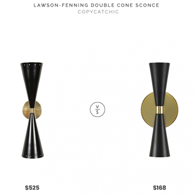 Lawson-Fenning Double Cone Sconce $525 vs. Lumens Milo Wall Sconce $168, black and brass double cone sconce look for less, copycatchic luxe living for less, budget home decor and design, daily finds, home trends, sales, budget travel and room redos