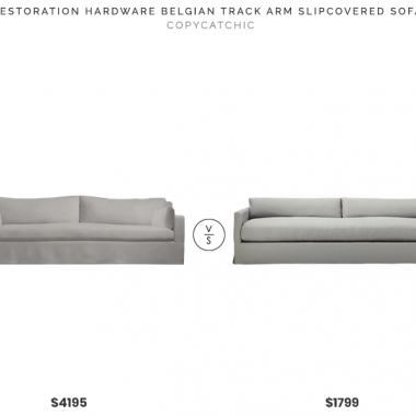 Restoration Hardware Belgian Track Arm Slipcovered Sofa $4195 vs. CB2 Delphine Linen Slipcovered Sofa $1799, gray linen slipcovered sofa look for less, copycatchic luxe living for less, budget home decor and design, daily finds, home trends, sales, budget travel and room redos