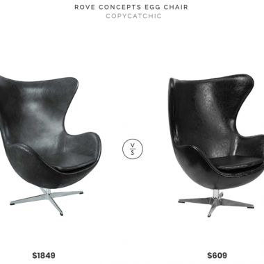 Rove Concepts Egg Chair $1849 vs. Houzz Chancellor Egg Chair $609, black leather egg chair look for less, copycatchic luxe living for less, budget home decor and design, daily finds, home trends, sales, budget travel and room redos