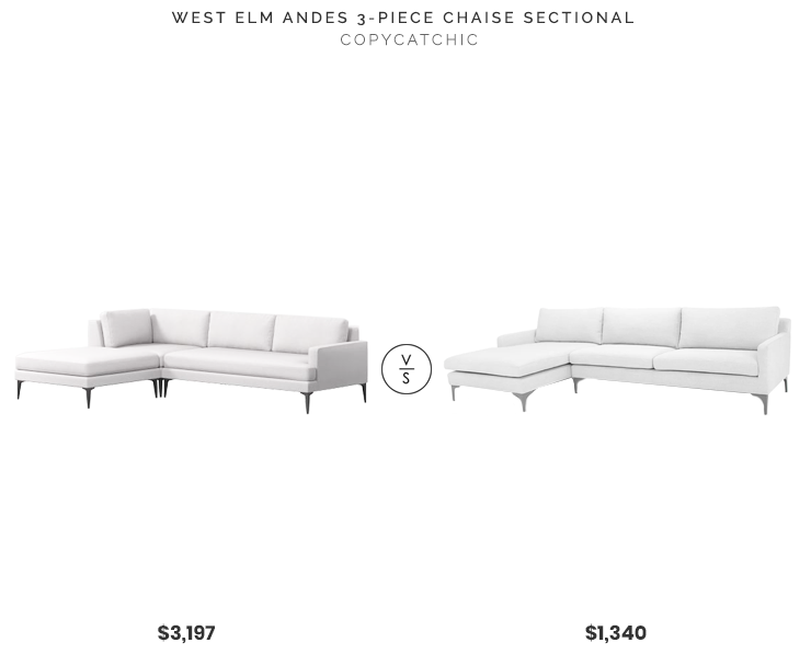 West Elm Andes 3-Piece Chaise Sectional $3197 vs. All Modern Eden Stationary Sectional $1340, modern light gray sectional sofa, copycatchic luxe living for less, budget home decor and design, daily finds, home trends, sales, budget travel and room redos