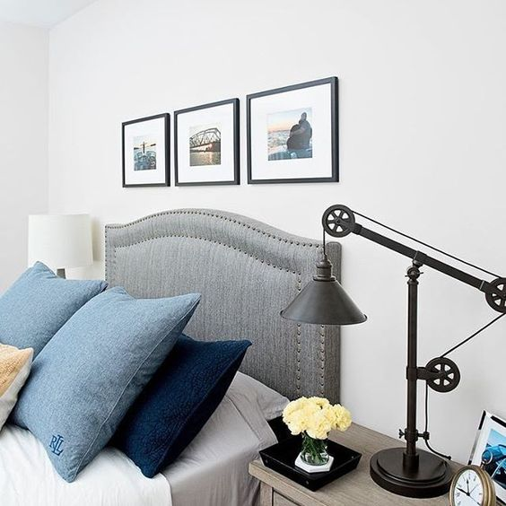One Kings Lane Tallman Headboard $300 vs. Walmart Edgemod Ariella Headboard with Nailhead Trim $106, gray headboard nailhead trim look for less, copycatchic luxe living for less, budget home decor and design, daily finds, home trends, sales, budget travel and room redos