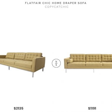 Flat Fair Chic Home Draper Sofa $2135 vs. Inspired Home Warhol Linen Tufted Sofa $1191, yellow tufted sofa look for less, copycatchic luxe living for less, budget home decor and design, daily finds, home trends, sales, budget travel and room redos