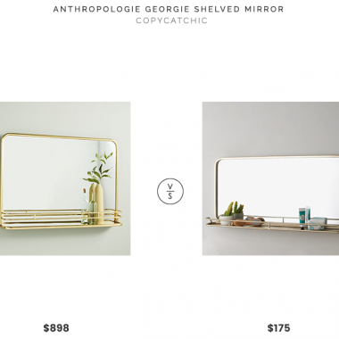 Anthropologie Georgie Shelved Mirror $898 vs. Shades of Light Metal Mirror with Shelf $175, gold mirror with shelf look for less, copycatchic luxe living for less, budget home decor and design, daily finds, home trends, sales, budget travel and room redos