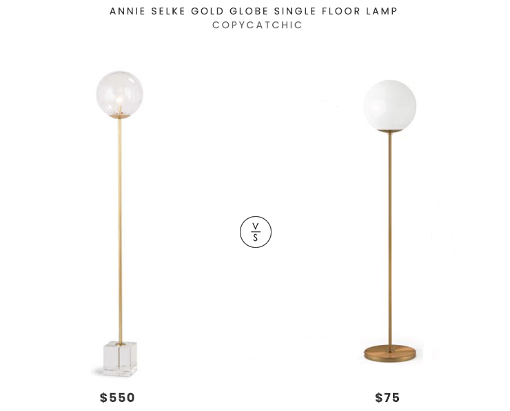 Annie Selke Gold Glob Single Floor Lamp  $550 vs. Walmart Theia Glam Globe Style Floor Lamp $75, brass globe floor lamp look for less, copycatchic luxe living for less, budget home decor and design, daily finds, home trends, sales, budget travel and room redos