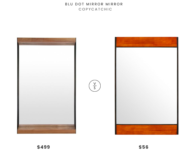Blu Dot Mirror Mirror, Small $499 vs. Amazon Rivet Modern Wood and Iron Mirror $56, modern wood frame mirror look for less, copycatchic luxe living for less, budget home decor and design, daily finds, home trends, sales, budget travel and room redos