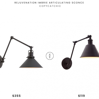 Rejuvenation Imbrie Articulating Sconce $355 vs. Stone & Beam Modern Wall Sconce $119, black wall lamp look for less, copycatchic luxe living for less, budget home decor and design, daily finds, home trends, sales, budget travel and room redos
