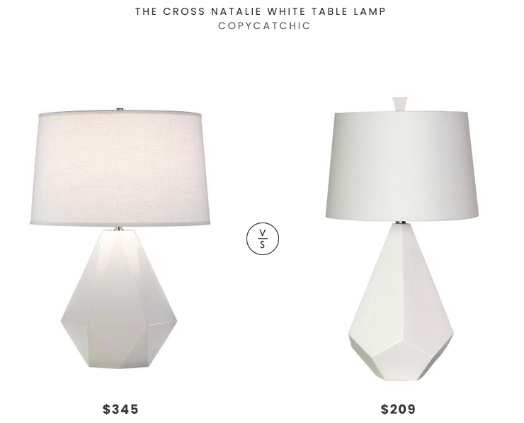 The Cross Natalie White Table Lamp  $345 vs. Overstock Marvelous Multi-Face White Ceramic Lamp $209, white faceted table lamp look for less, copycatchic luxe living for less, budget home decor and design, daily finds, home trends, sales, budget travel and room redos