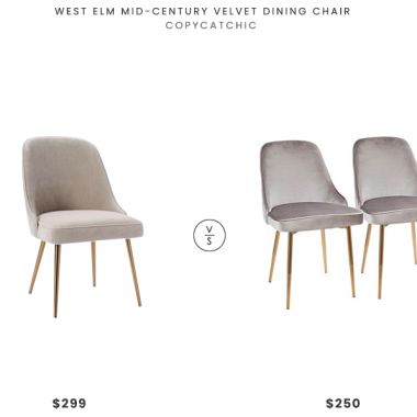 West Elm Mid-Century Velvet Dining Chair$299 vs. Rooms to Go Clovis Silver Dining Chair (Set of 2)$250, gray velvet dining chair look for less, copycatchic luxe living for less, budget home decor and design, daily finds, home trends, sales, budget travel and room redos