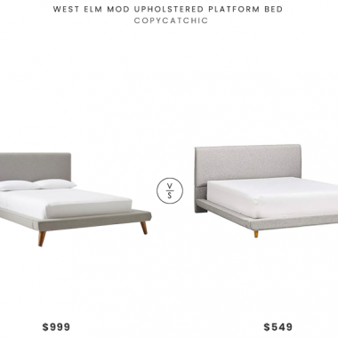 West Elm Mod Upholstered Platform Bed  $999 vs. Amazon Rivet York Modern Extended Platform Bed $549, gray platform bed look for less, copycatchic luxe living for less, budget home decor and design, daily finds, home trends, sales, budget travel and room redos