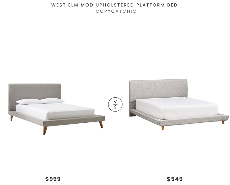West Elm Mod Upholstered Platform Bed$999 vs. Amazon Rivet York Modern Extended Platform Bed$549, gray platform bed look for less, copycatchic luxe living for less, budget home decor and design, daily finds, home trends, sales, budget travel and room redos