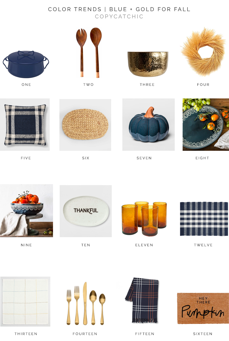 Perfect accent color for fall: navy and gold. Gold and mustard tones help warm up the rich, navy color for a perfect color combination for Fall and adds the perfect seasonal touch to your home copycatchic luxe living for less