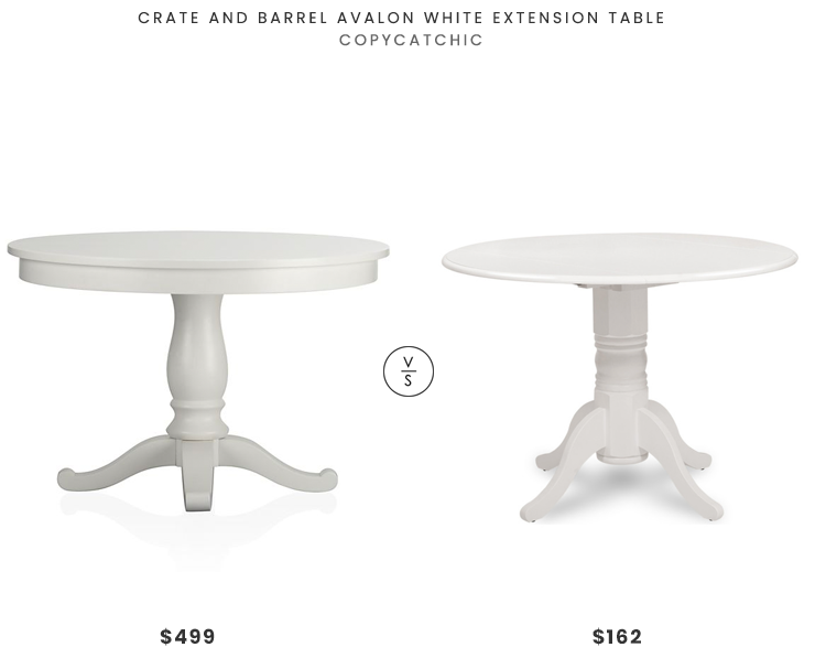 "Crate and Barrel Avalon White Extension Table (45""-62"") $499 vs. Walmart Burlington Round Dining Table(42"") $162, white pedestal dining table look for less, copycatchic luxe living for less, budget home decor and design, daily finds, home trends, sales, budget travel and room redos"