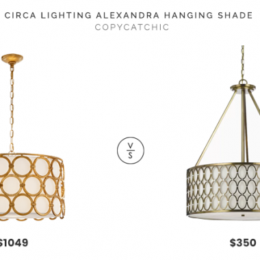 Circa Lighting Alexandra Hanging Shade $1,049 vs. Wayfair Satin Brass 5-Light Pendant $350, brass drum light fixture look for less, copycatchic luxe living for less, budget home decor and design, daily finds, home trends, sales, budget travel and room redos