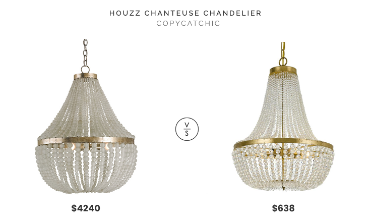 Houzz Chanteuse Chandelier $4,240 vs. Lightology Rylee Chandelier $638, brass and glass bead chandelier look for less, copycatchic luxe living for less, budget home decor and design, daily finds, home trends, sales, budget travel and room redos