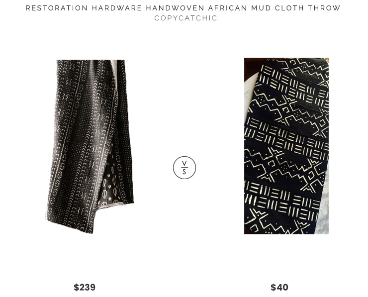 Restoration Hardware Handwoven African Mud Cloth Throw $239 vs. Etsy Vintage African Mud Cloth $40, mud cloth throw look for less, copycatchic luxe living for less, budget home decor and design, daily finds, home trends, sales, budget travel and room redos