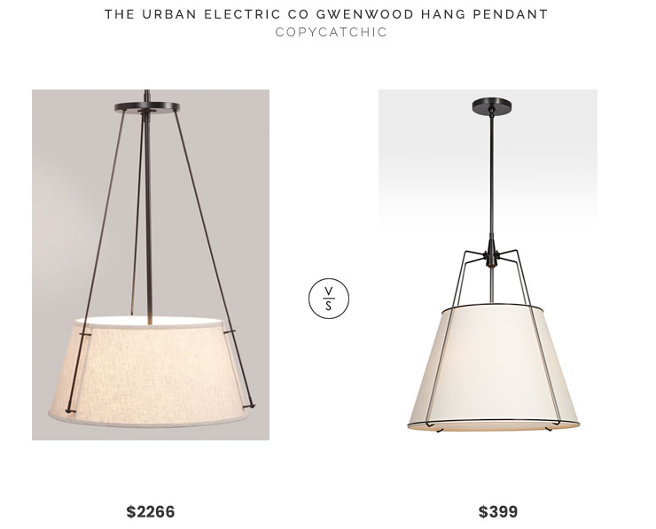 The Urban Electric Gwenwood Hang Pendant $2266 vs. Rejuvenation Conical Drum Pendant $399, bronze shaded light fixture look for less, copycatchic luxe living for less, budget home decor and design, daily finds, home trends, sales, budget travel and room redos