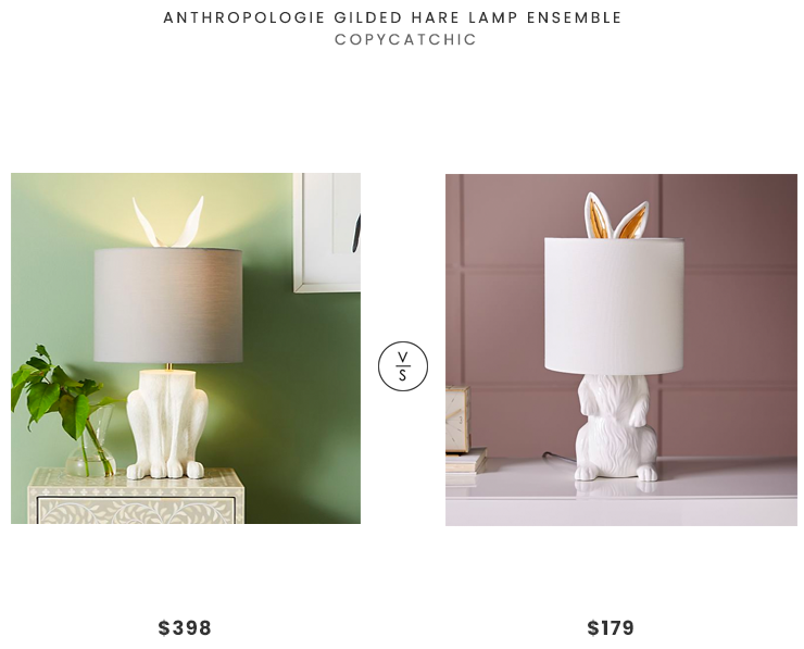 Anthropologie Gilded Hare Lamp Ensemble  $398 vs. West Elm Ceramic Nature Rabbit Table Lamp $179, bunny lamp look for less, rabbit lamp look for less, copycatchic luxe living for less, budget home decor and design, daily finds, home trends, sales, budget travel and room redos