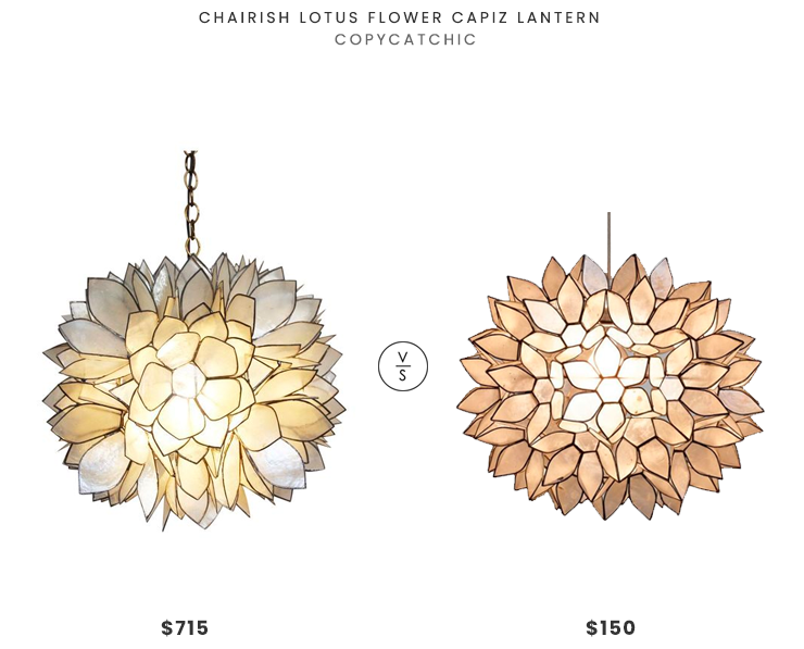 Chairish Lotus Flower Capiz Lantern $715 vs. World Market Large Capiz Lotus Pendant $150, capiz chandelier look for less, copycatchic luxe living for less, budget home decor and design, daily finds, home trends, sales, budget travel and room redos