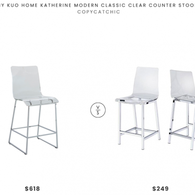 Kathy Kuo Home Katherine Modern Clear Stool  $618 vs. Amazon Counter Stools Chrome and Clear (Set of 2) $249, acrylic bar stool look for less, copycatchic luxe living for less, budget home decor and design, daily finds, home trends, sales, budget travel and room redos
