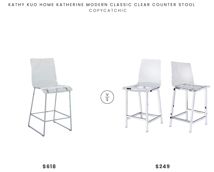 Kathy Kuo Home Katherine Modern Clear Stool$618 vs. Amazon Counter Stools Chrome and Clear (Set of 2)$249, acrylic bar stool look for less, copycatchic luxe living for less, budget home decor and design, daily finds, home trends, sales, budget travel and room redos