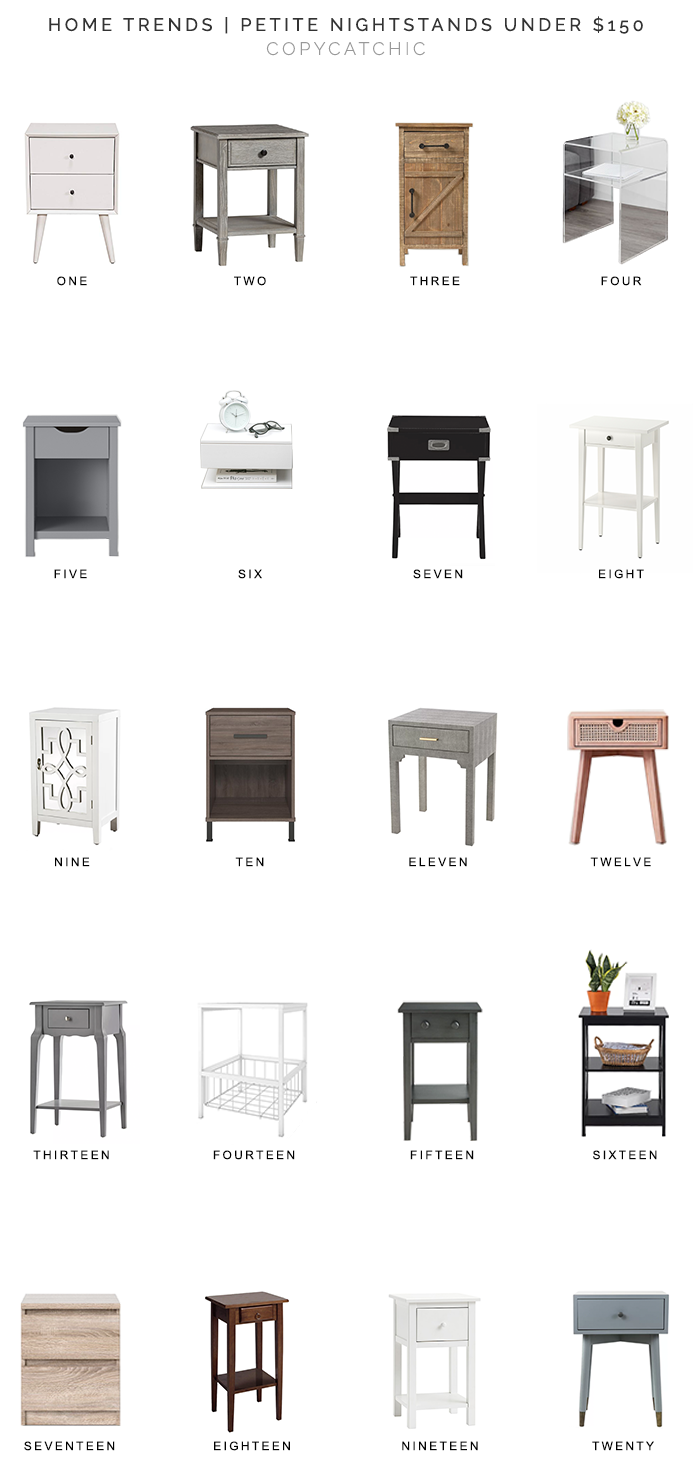 small nightstands for less, bedside tables for less, nightstands under $150, petite nightstands, narrow nightstands, copycatchic luxe living for less, budget home decor and design, daily finds, home trends, sales, budget travel and room redos