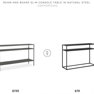 Room and Board Slim Console Table $725 vs. Target Glasglow Console Table $70, metal console table look for less, copycatchic luxe living for less, budget home decor and design, daily finds, home trends, sales, budget travel and room redos