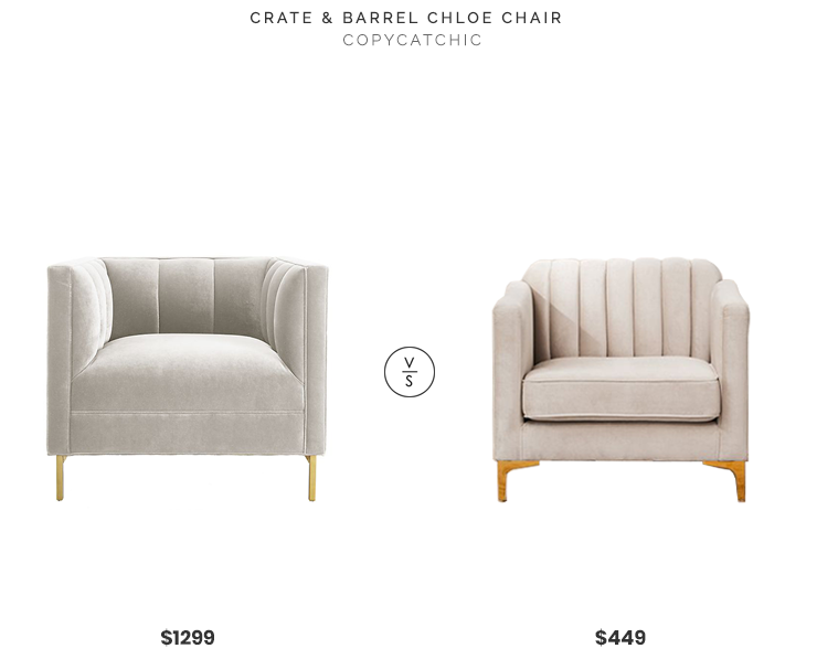 Crate & Barrel Chloe Chair $1299 vs. Urban Outfitters Marcella Velvet Chair $449, gray velvet channel tufted chair look for less, copycatchic luxe living for less, budget home decor and design, daily finds, home trends, sales, budget travel and room redos