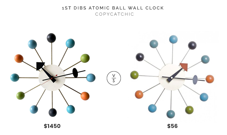George Nelson for Howard Miller Atomic Ball Wall Clock $1,450 vs. Walmart Mod Made Bubble Wall Clock $56, colorful ball wall clock look for less, copycatchic luxe living for less, budget home decor and design, daily finds, home trends, sales, budget travel and room redos