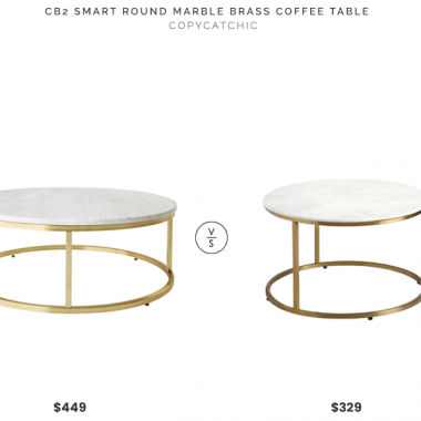 CB2 Smart Round Marble Brass Coffee Table $449 vs. World Market Round White Marble Milan Coffee Table $329, brass and marble coffee table look for less, copycatchic luxe living for less, budget home decor and design, daily finds, home trends, sales, budget travel and room redos