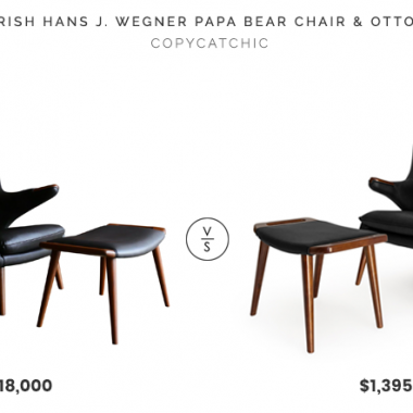 Charish Hans J. Wegner Papa Bear Chair & Ottoman $18,000 vs. Kardiel Papa Bear Mid Century Chair & Ottoman $1,395, black mid century chair look for less, wegner papa bear chair look for less, copycatchic luxe living for less, budget home decor and design, daily finds, home trends, sales, budget travel and room redos