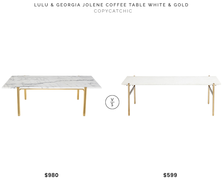 Lulu & Georgia Jolene Coffee Table, White and Gold $980 vs. CB2 Slab Large Marble Coffee Table With Brass Base $599, marble and brass coffee table look for less, copycatchic luxe living for less, budget home decor and design, daily finds, home trends, sales, budget travel and room redos