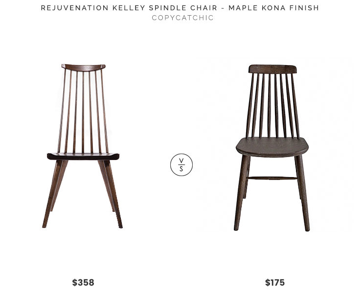 Rejuvenation Kelley Spindle Chair $358 vs. Modern Digs Boxwood Dining Chair $175, wood spindle chair look for less, copycatchic luxe living for less, budget home decor and design, daily finds, home trends, sales, budget travel and room redos