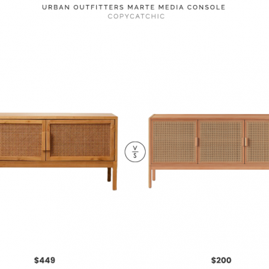 "Urban Outfitters Marte Media Console $449 vs. Target 54"" Minsmere Caned TV Stand Natural Brown $200, wood and cane media console look for less, copycatchic luxe living for less, budget home decor and design, daily finds, home trends, sales, budget travel and room redos"