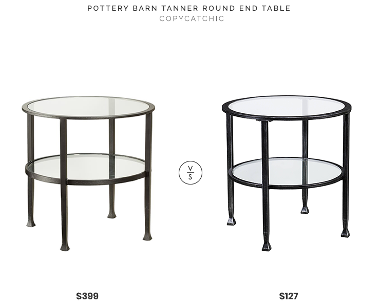 Pottery Barn Tanner Round End Table $399 vs. Walmart Jumpluff Metal/Glass Round End Table $127, metal and glass end table look for less, copycatchic luxe living for less, budget home decor and design, daily finds, home trends, sales, budget travel and room redos