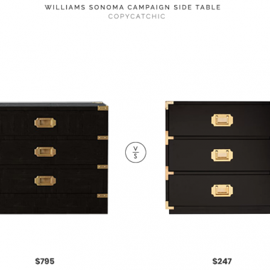 Williams Sonoma Campaign Side Table $795 vs. All Modern Loren End Table $247, black campaign side table look for less, copycatchic luxe living for less, budget home decor and design, daily finds, home trends, sales, budget travel and room redos