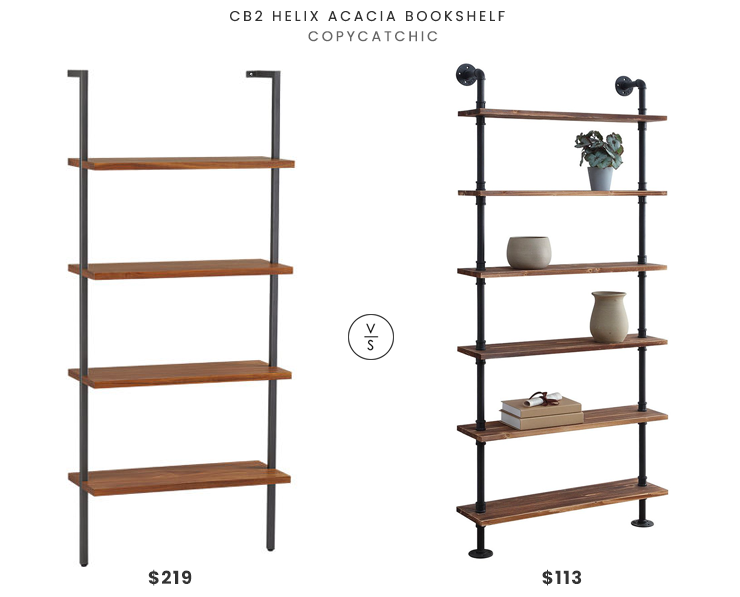 CB2 Helix Acacia Bookshelf $219 vs. Walmart 4D Concepts Anacortes Bookshelf $113, metal and wood bookshelf look for less, copycatchic luxe living for less, budget home decor and design, daily finds, home trends, sales, budget travel and room redos