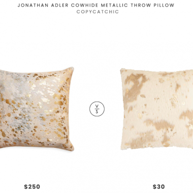 Jonathan Adler Cowhide Metallic Throw Pillow $250 vs. World Marker Gold Splatter Print Faux Cowhide Throw Pillow $30, metallic cowhide pillow look for less, gold cowhide pillow look for less, copycatchic luxe living for less, budget home decor and design, daily finds, home trends, sales, budget travel and room redos