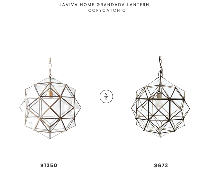 Laviva Home Granda Lantern $1350 vs. Worlds Away Valencia Faceted Round Pendant $673, star lantern light fixture look for less, geometric lantern light fixture look for less, copycatchic luxe living for less, budget home decor and design, daily finds, home trends, sales, budget travel and room redos