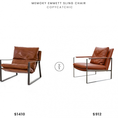 Memoky Emmett Sling Chair $1410 vs. sohoConcept Zara Armchair $912, leather lounge chair look for less, copycatchic luxe living for less, budget home decor and design, daily finds, home trends, sales, budget travel and room redos