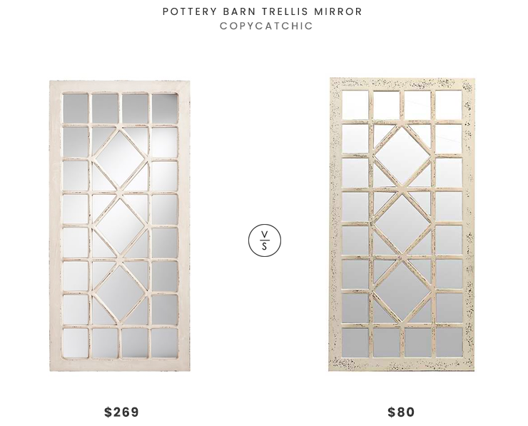 Pottery Barn Trellis Mirror $269 vs. Kirklands Distressed Cream Marquis Pane Mirror $80, trellis mirror look for less, copycatchic luxe living for less, budget home decor and design, daily finds, home trends, sales, budget travel and room redos