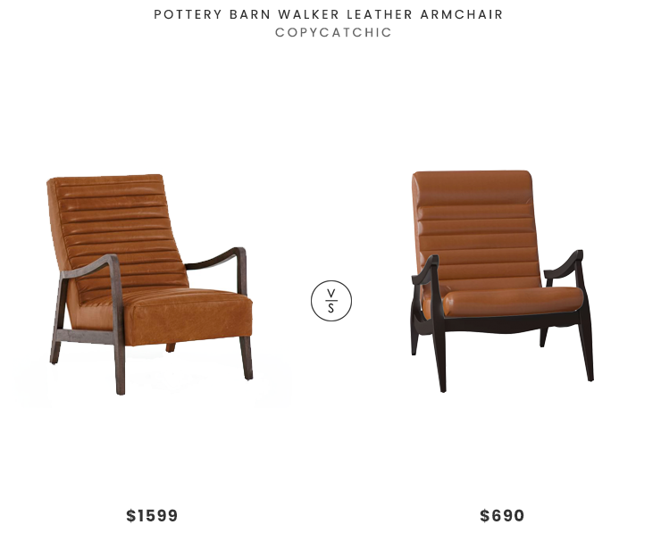 Pottery Barn Walker Leather Armchair $1599 vs. DwellStudio Hans Armchair $690, channel tufted leather chair look for less, copycatchic luxe living for less, budget home decor and design, daily finds, home trends, sales, budget travel and room redos