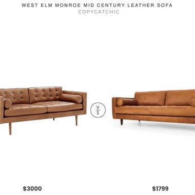 West Elm Monroe Mid-Century Leather Sofa $3000 vs. Article Sven Sofa $1799, tufted leather sofa look for less, copycatchic luxe living for less, budget home decor and design, daily finds, home trends, sales, budget travel and room redos