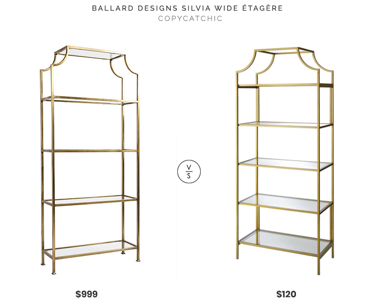 Ballard Designs Silvia Wide Étagère $999 vs. Walmart Nola 5 Tier Bookcase $120, gold etagere look for less, copycatchic luxe living for less, budget home decor and design, daily finds, home trends, sales, budget travel and room redos