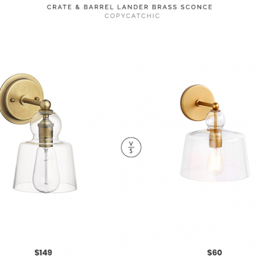 Crate & Barrel Lander Brass Sconce $149 vs. Amazon Stone & Beam Modern Metal Sconce $60, brass and glass sconce look for less, copycatchic luxe living for less, budget home decor and design, daily finds, home trends, sales, budget travel and room redos